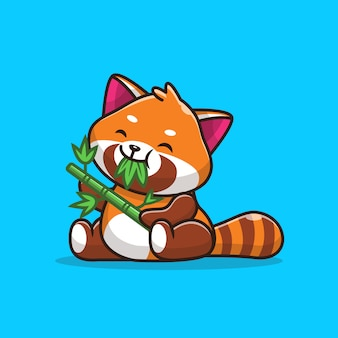 Симпатичные красная панда едят листья бамбука значок иллюстрации. плоский мультяшный стиль