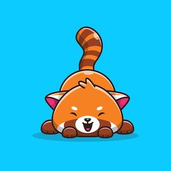 Cute red panda   icon illustration.   flat cartoon style