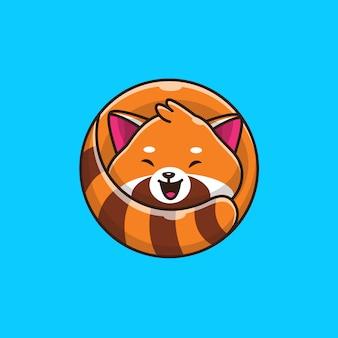 Симпатичные красная панда значок иллюстрации. плоский мультяшный стиль