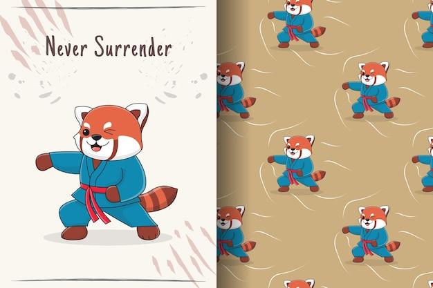 かわいいレッサーパンダ武道パンチのシームレスなパターンとイラスト
