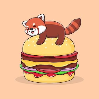 ハンバーガーの上にかわいいレッサーパンダ