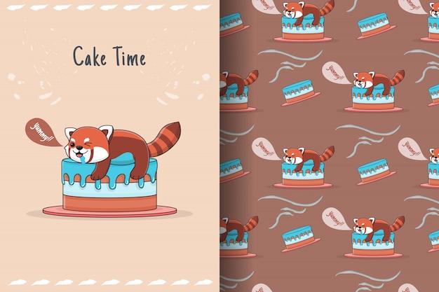 Милая красная панда на вершине торта бесшовные модели и карты