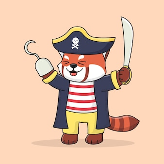 Cute red panda pirate