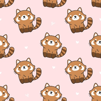 Cute red panda seamless pattern background