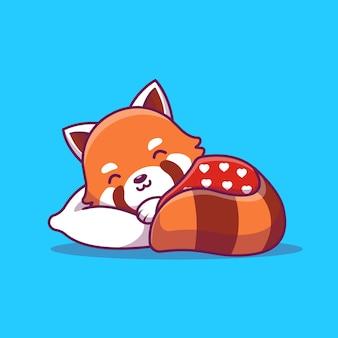 枕漫画で眠っているかわいいレッサーパンダ。分離された動物の性質のアイコンの概念。フラット漫画スタイル