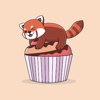 Cute red panda on top of cupcake