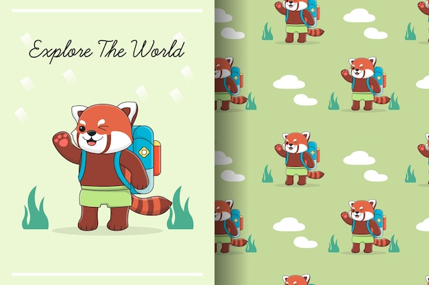 Cute red panda with backpack seamless pattern and illustration