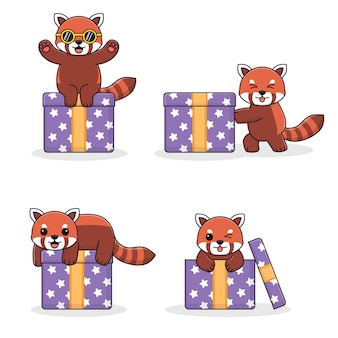 선물 상자와 함께 귀여운 레드 팬더
