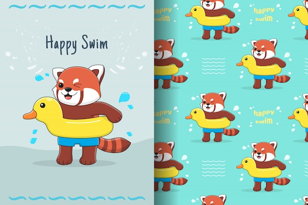 Cute red panda with rubber duck seamless pattern and card