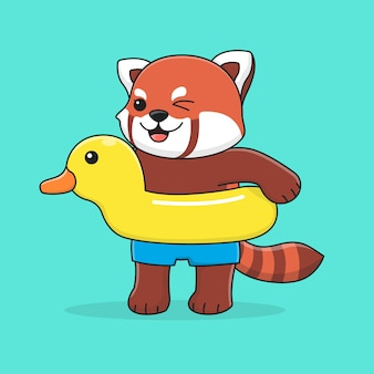Cute red panda with swim ring duck