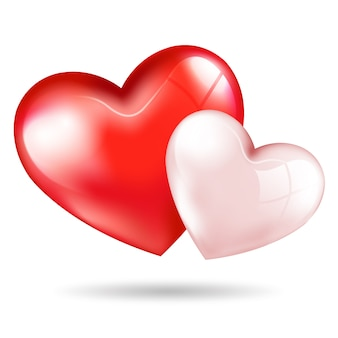 Cute red pink 3d hearts