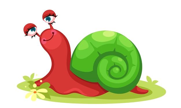 Cute red snail cartoon vector illustration