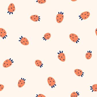 かわいい赤いstrawberrieベクトルシームレスパターン