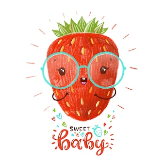 Cute red strawberry with glasses.
