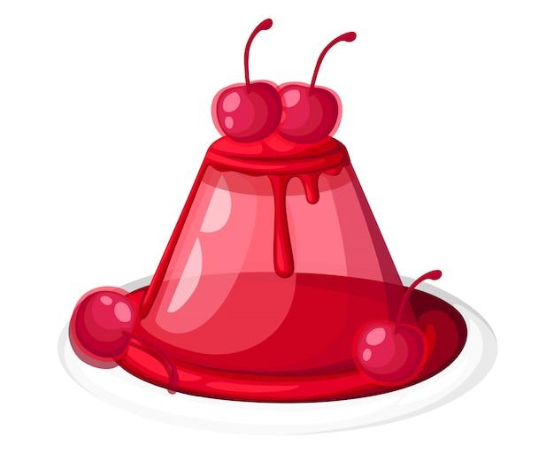 Симпатичное красное прозрачное вишневое желе на тарелке, фруктовый желатиновый десерт, украшенное вишневой иллюстрацией на белом фоне, странице веб-сайта и мобильном приложении