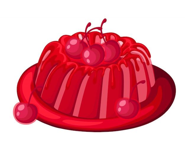 Симпатичный красный прозрачный вишневый желейный пирог на тарелке, фруктовый желатиновый десерт, украшенный вишневой иллюстрацией на белом фоне, страница веб-сайта и мобильное приложение