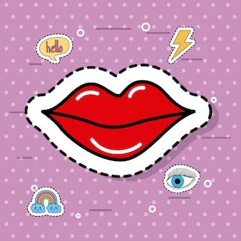 かわいい赤い女性の口紅ファンタジーアイコンのステッカー