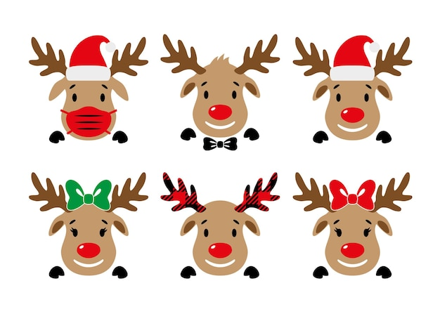 Cute rednosed reindeer with face mask santa hat bow deer face