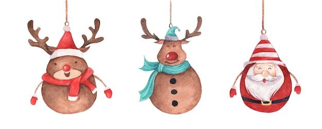 Милый олень и санта-клаус висит на веревочке. старинные рождественские украшения. акварельное рождество