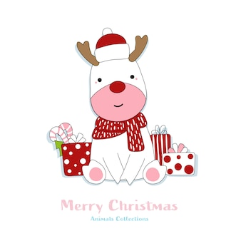 Cute reindeer animal hand drawn style