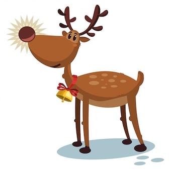 Cute reindeer cartoon christmas character.