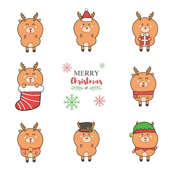 Cute reindeer cartoon hand drawn collection for christmas.