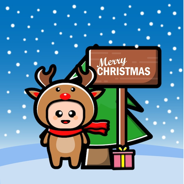 Cute reindeer cartoon with tree and gift