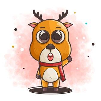 Cute reindeer character wearing scarf illustration