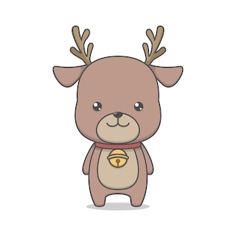 Cute reindeer character with bell collar