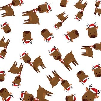 Cute reindeer christmas character pattern