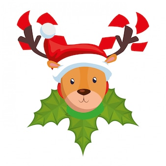 Cute reindeer christmas character with sweet canes