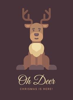 Cute reindeer christmas greeting card.