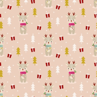 Cute reindeer in christmas theme seamless pattern
