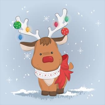 Cute reindeer in the christmas