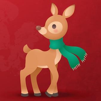 Cute reindeer cub flat cartoon for christmas decoration