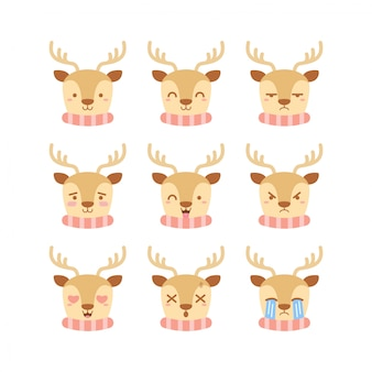 Cute reindeer emoticon set