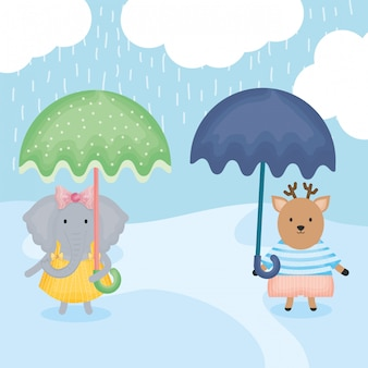 Cute reindeer and female lions with umbrellas