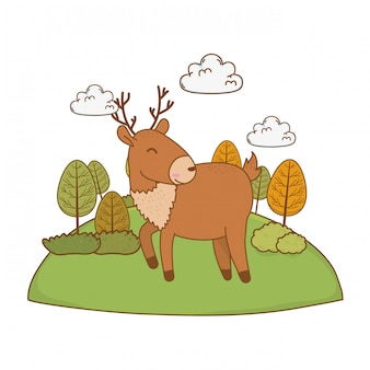 Cute reindeer in the field woodland character