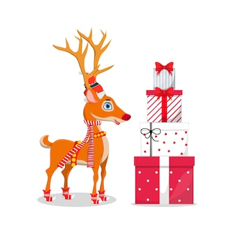 Cute reindeer and gift boxes standing on a white background
