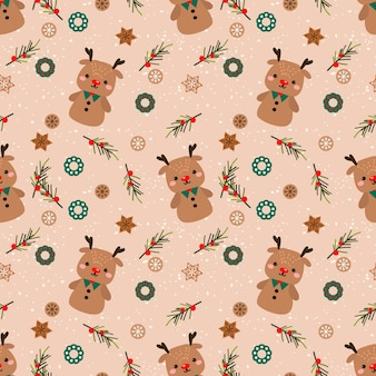 Cute reindeer gingerbread  in christmas theme seamless pattern