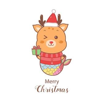 Милый мультфильм русалка оленей на рождество