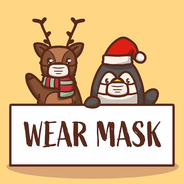 Cute reindeer and penguin holding wear mask banner campaign