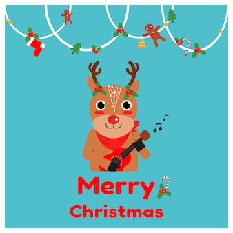 Cute reindeer playing ukulele cartoon vector.