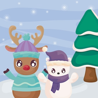 Cute reindeer and polar bear on winter landscape