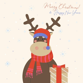 Cute reindeer in a red crocheted scarf and santa claus hat brought a gift