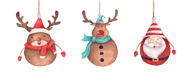 Cute reindeer and santa claus hanging on string. vintage christmas decoration. watercolor christmas