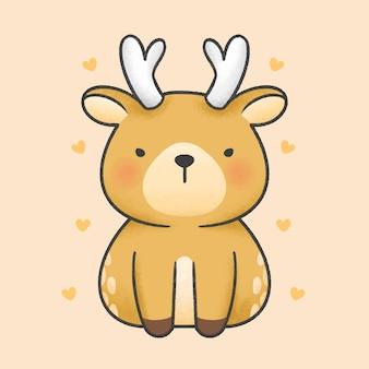 Cute reindeer sitting cartoon hand drawn style