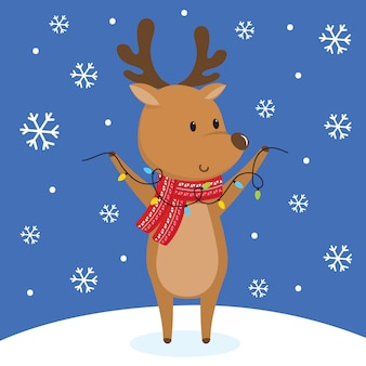 Cute reindeer on snowing,   illustration
