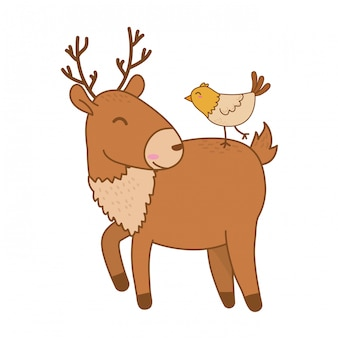 Cute reindeer with bird woodland characters