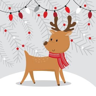 灰色のクリスマス装飾ランプとかわいいトナカイ